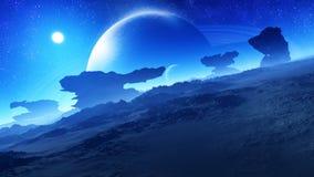 Episk härlig främmande planetnatt royaltyfri illustrationer