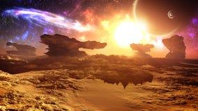 Episk härlig främmande planetsolnedgång med galaxen stock illustrationer