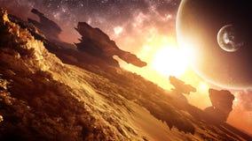 Episk härlig främmande planetsolnedgångmiljö stock illustrationer