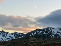 Episk solnedgång ovanför det Eyjafjallajokull och Myrdalsjokull landskapet, Katla caldera, Botnar-Ermstur, Laugavegur slinga, syd royaltyfri fotografi
