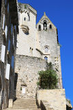 Episkopale Stadt von Rocamadour, Frankreich, Ansicht vom großartigen Treppenhaus Lizenzfreie Stockfotos