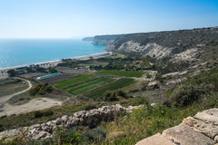 Episkopi Bay at Kourion, Cyprus. View over Episkopi Bay from Kourion on the south coast of the Mediterranean island of Cyprus Stock Images