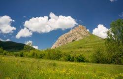 Episkt landskap med Coltesti den gamla fästningen i Transylvania royaltyfria foton