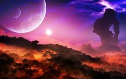 Episkt planetlandskap och himmel stock illustrationer