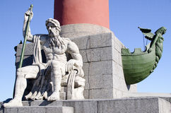 Episode of the Rostral column in St. Petersburg Royalty Free Stock Image