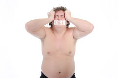 Episodes. Fat man. Naked and dressed. Stock Photos