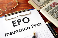 EPO Insurance Plan on a table. Royalty Free Stock Images