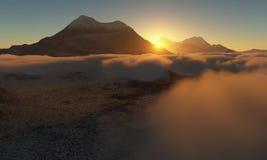 Epoka Lodowcowa Lodowaty pustkowie chmury w niebie ilustracja wektor