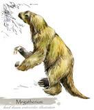 Epoki Lodowcowej przyroda prehistoryczne okres fauny Megatherium ilustracja wektor