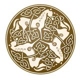 Epona celtic symbol. Ancient Celtic Ornament of three horses Stock Illustration