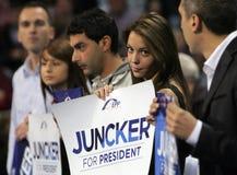 EPP Juncker de la campaña electoral de europeo Foto de archivo libre de regalías