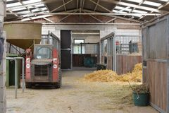 Inside of animal stable with stalls and hay for feeding animals royalty free stock photos