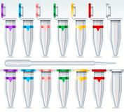 Eppendorf Opened and Closed Multicolor Set and Pipette Royalty Free Stock Images