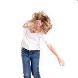 Epression emocionado del cabrito de los niños con gesto del ganador Fotografía de archivo