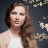 10 eps女孩例证春天向量 免版税库存图片