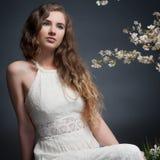 10 eps女孩例证春天向量 图库摄影