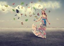 10 eps女孩例证春天向量 免版税图库摄影
