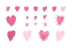 eps文件重点包括的向量 逗人喜爱的您日设计玫瑰华饰集合的华伦泰 概略样式 皇族释放例证