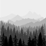 eps文件包括的横向向量 山和前面剪影全景  库存照片