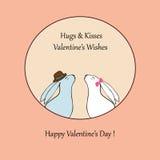 eps文件重点包括的向量 与逗人喜爱的兔子股票的爱愉快的情人节卡片 免版税图库摄影
