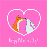 eps文件重点包括的向量 与逗人喜爱的狐狸和兔子股票的爱愉快的情人节卡片 免版税库存图片