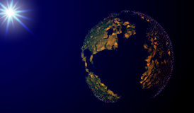 10 eps Αφηρημένη εικόνα ενός πλανήτη Γη υπό μορφή έναστρου ουρανού ή διαστήματος, που αποτελείται από τα σημεία, τις γραμμές, και Στοκ Εικόνα