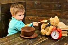 eps γευμάτων χρονικό διάνυσμα απεικόνισης jpeg Το μικρό παιδί και teddy αντέχει έχει το γεύμα από κοινού Παιχνίδι τροφών παιδιών  Στοκ Φωτογραφία