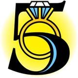 eps πέντε χρυσά δαχτυλίδια Στοκ Εικόνες
