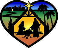 eps σκιαγραφία nativity καρδιών Στοκ Φωτογραφία