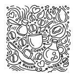 eps σχεδίου 10 ανασκόπησης διάνυσμα τεχνολογίας Σκίτσο τέχνης του αλεξίσφαιρου καφέ απεικόνιση αποθεμάτων