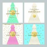 eps Χριστουγέννων 8 καρτών συμπεριλαμβανόμενο αρχείο δέντρο Διανυσματική απεικόνιση