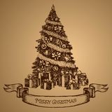 eps Χριστουγέννων 8 καρτών συμπεριλαμβανόμενο αρχείο δέντρο Χριστούγεννα εύθυμα διάνυσμα σκίτσο Διανυσματική απεικόνιση
