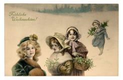 eps Χριστουγέννων 8 καρτών το αρχείο περιέλαβε τον εύθυμο διανυσματικό τρύγο Στοκ φωτογραφία με δικαίωμα ελεύθερης χρήσης