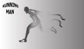 10 eps Бегун частиц Человек бежит и ветер из его вытягивая вне соединяет в форме круга Illustra вектора Стоковое Изображение