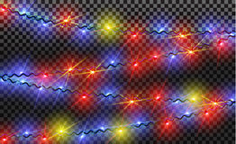 EPS10 Гирлянды, световые эффекты украшений рождества Изолированные элементы дизайна вектора Стоковое Фото