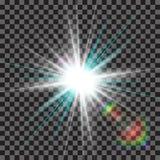 EPS10 Пирофакела объектива солнечного света вектора световой эффект прозрачного специального Стоковые Фото