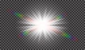 EPS10 Пирофакела объектива солнечного света вектора световой эффект прозрачного специального Стоковые Фотографии RF
