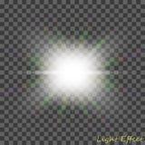 EPS10 Пирофакела объектива солнечного света вектора световой эффект прозрачного специального Стоковые Изображения