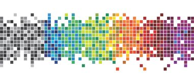 10 eps Потеха и очень красочная серия квадратов или пикселов во всех цветах спектра, от черной к пурпуру бесплатная иллюстрация