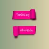 10 eps Розовые ленты в день валентинки St Vector с тенями белая предпосылка Стоковая Фотография RF