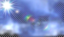 10 eps Туман или изолированный дымом прозрачный специальный эффект Белая предпосылка пасмурности, тумана или смога объектив экстр Стоковая Фотография