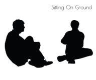 EPS 10人的传染媒介例证坐的姿势的在白色背景的地面姿势 库存例证