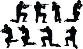 EPS 10在商人战士射击剪影的传染媒介例证  免版税库存图片