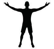EPS 10在黑色的足球运动员剪影的传染媒介例证 库存图片