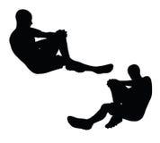 EPS 10在黑色的足球运动员剪影的传染媒介例证 免版税库存图片