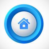 蓝色塑料传染媒介家圆的按钮 库存照片