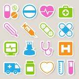 Ιατρικά εικονίδια αυτοκόλλητων ετικεττών καθορισμένα. Απεικόνιση Στοκ φωτογραφία με δικαίωμα ελεύθερης χρήσης