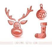 С Рождеством Христовым файл комплекта элементов EPS10 стиля эскиза. Стоковая Фотография RF