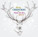 圣诞节鹿。假日背景。EPS 10 免版税库存照片