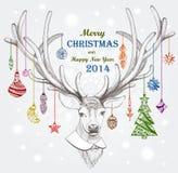 圣诞节鹿。假日背景。EPS 10 免版税库存图片